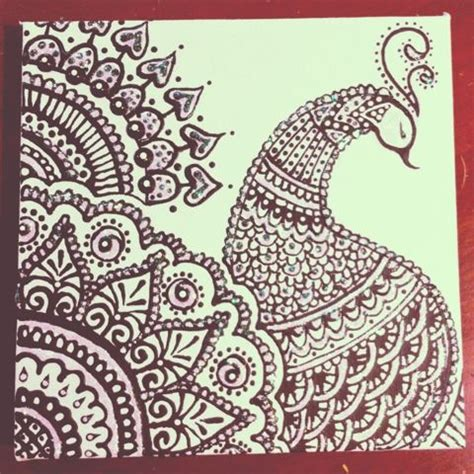 mehndi pattern drawing sketched and embellished peacock henna design ღ for