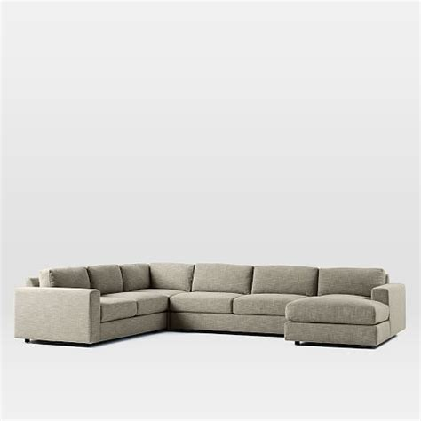 4 piece sectional with chaise urban 4 piece chaise sectional west elm