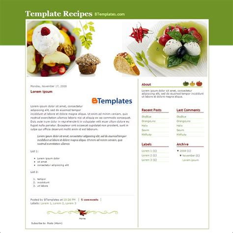 food recipe blog website templates themes free