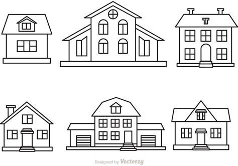 set houses drawings stock photo photo vector illustration vector house outline set download free vector art stock