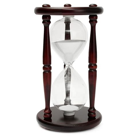 Hourglass Decor by 60 Minutes Wood White Sand Glass Hourglass Timer Clock