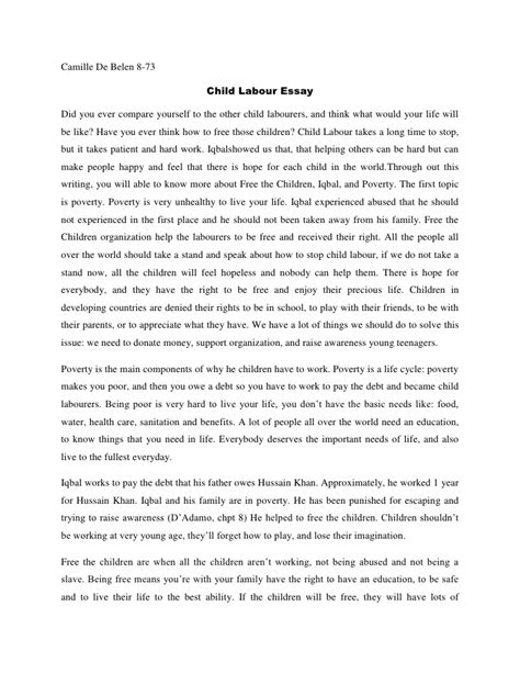 Child Labor Essay by Camille Child Labour Essay