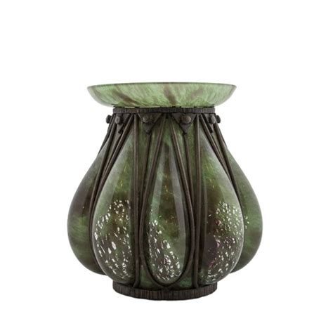 Iron Silver Vase by A Glass Wrought Iron Vase By Andre Delatte Deco