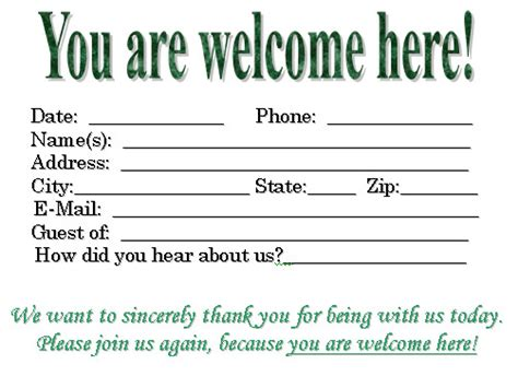church visitor card template images