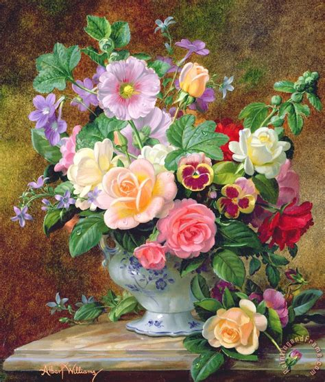Vase Of Flowers Paintings by Albert Williams Roses Pansies And Other Flowers In A Vase