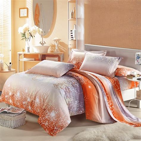 orange full size comforter orange white and gray asian cherry blossom and polka dot