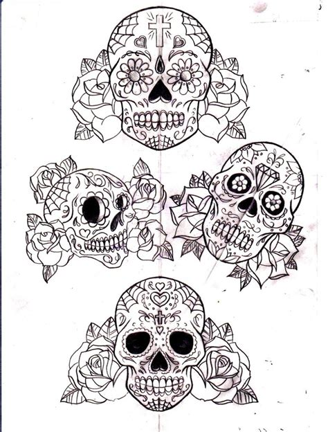 sugar skull and roses tattoo sugar skull designs on sugar skull design