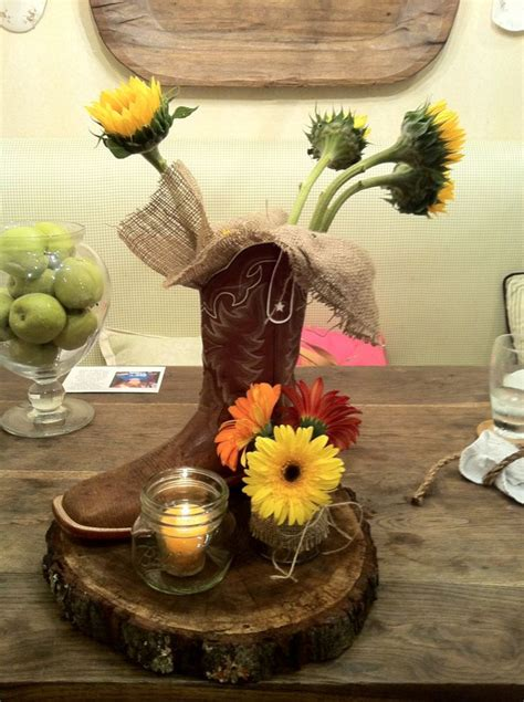 Western Chic Centerpiece Not Sure If You Could Get Boots Western Wedding Centerpieces For Tables