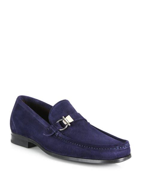 suede bit loafers ferragamo muller suede side bit loafers in blue for lyst