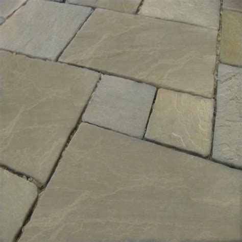 raj green indian sandstone tumbled calibrated patio paving