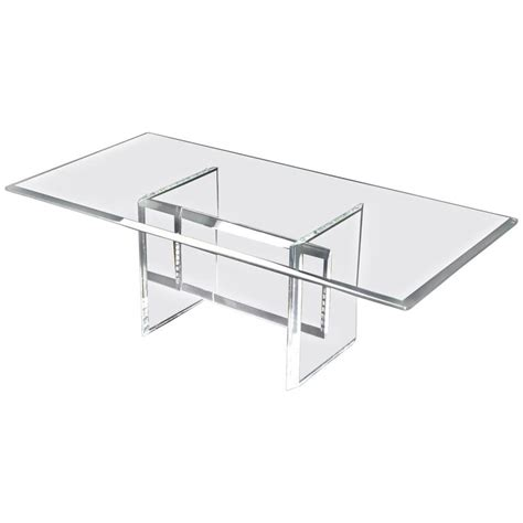 Rectangular L Base by Lucite Base Glass Top Rectangular Coffee Table For Sale At