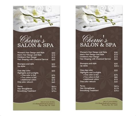 Spa Menu Template Beneficialholdings Info Hair Salon Menu Templates