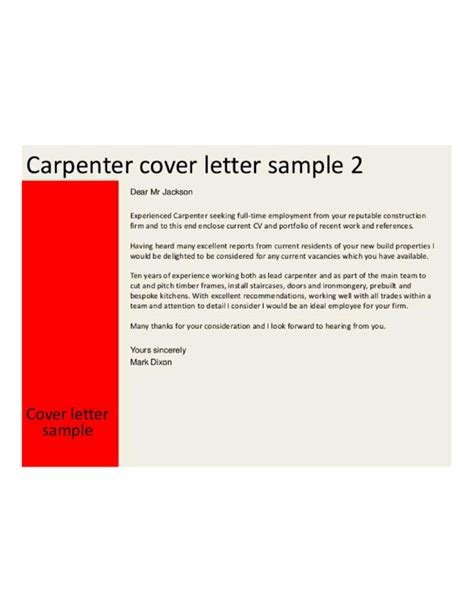 Master Carpenter Cover Letter master carpenter cover letter sles and templates