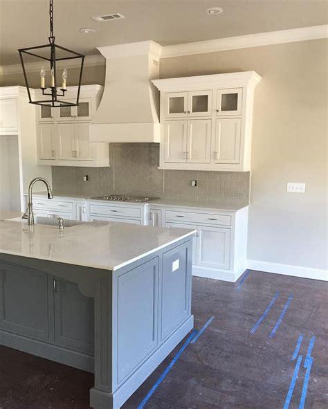 island gauntlet gray grey painted kitchen grey blue
