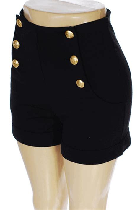 Highwaist 5 Button Black button high waist shorts fashion