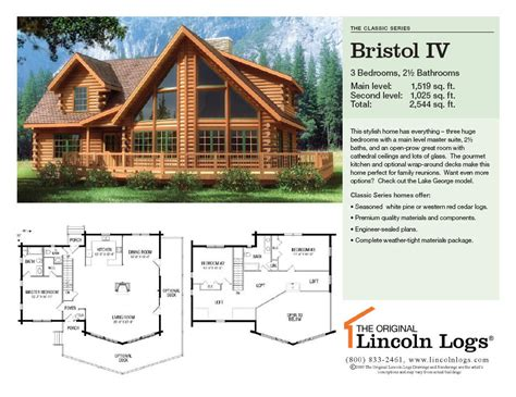 lincoln log homes floor plans log home floorplan bristol iv the original lincoln logs