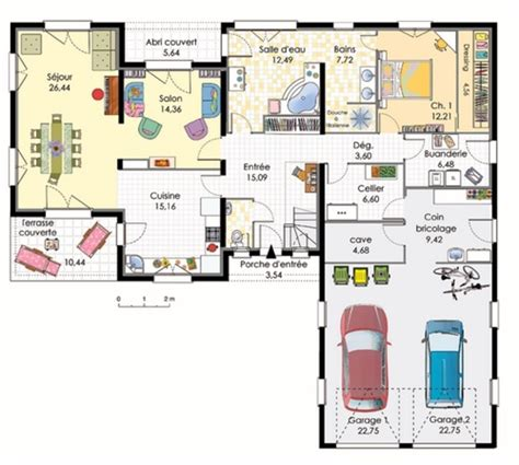 plan de maison plain pied moderne avec garage