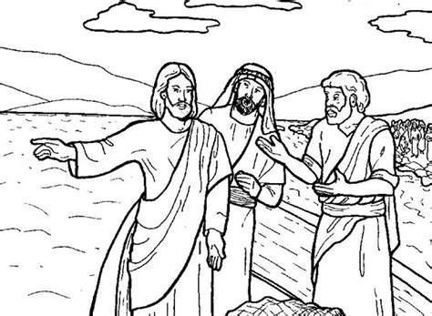 coloring pages jesus disciples fishing jesus tells disciple to fish in miracles of jesus coloring