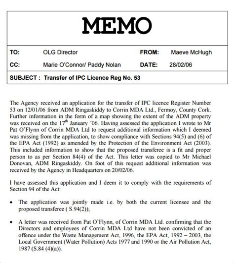 sle business memo template sle memo template 12 free documents