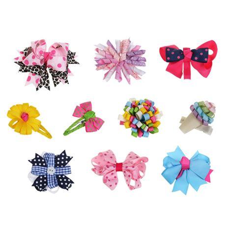 hair clip 10pc baby toddler ribbon bows mixed design hair clip