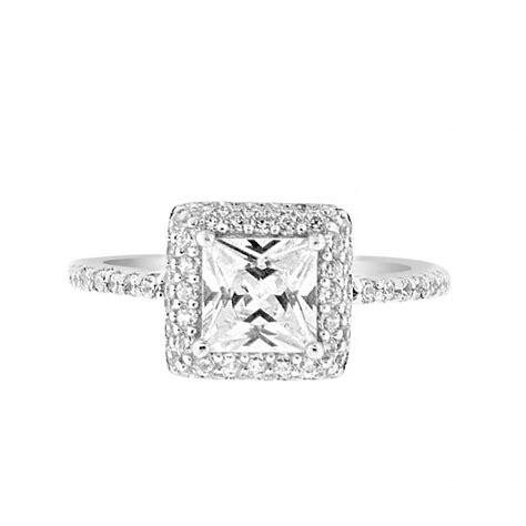 1 carat 6mm princess cut cz halo engagement ring