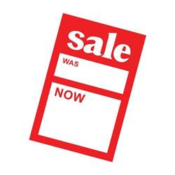 sale was now pricing card 150mm x 100mm 6in x 4in sales message card