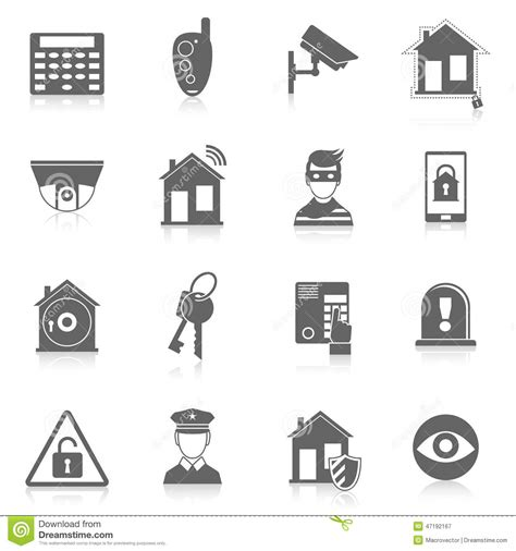 home security icons stock vector illustration of concept