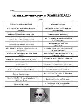 Shakespeare vs. Hip Hop Worksheets by Dren Productions | TpT