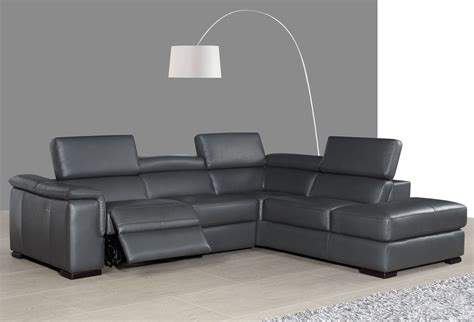 Gray Leather Reclining Sectional Agata Slate Gray Leather Power Reclining Raf Sectional