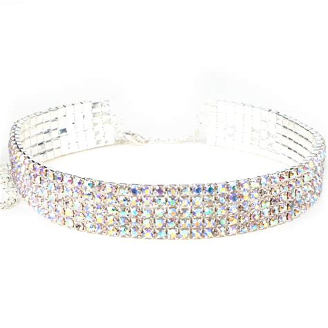 Rhinestoned Choker Silver 5 row stretch rhinestone choker necklace ab