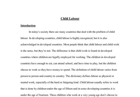 Child Labour Day Essay by Child Labour A Level Psychology Marked By Teachers