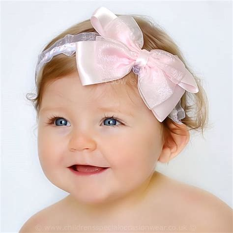baby headbands pink satin flower headband newborn baby pink white christening headband white satin