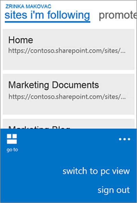 mobile view use a mobile device to work with sharepoint