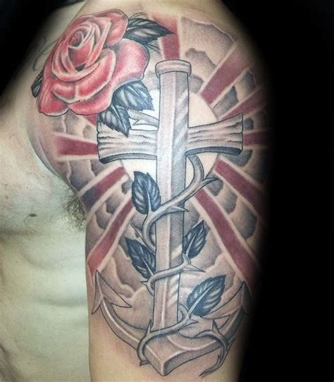 cross with sun rays tattoo 40 anchor cross designs for religious ink ideas