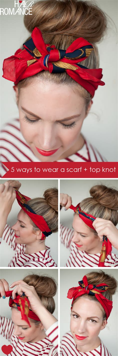 retro hairstyles with headband tutorial 5 ways to wear a scarf and a top knot 4 retro bow