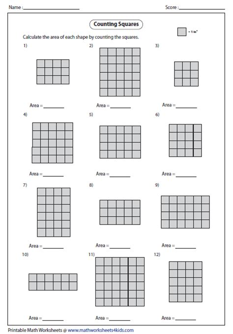 Area Worksheet by Area Worksheets