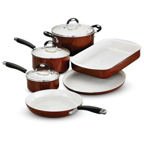 copper cookware set tramontina style ceramica 9 metallic copper cookware set with lids 80110 221ds the home