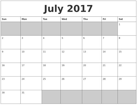 printable calendar template 2017 july 2017 calendar fillable calendar template letter