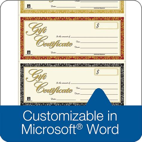 word template for gift certificate gift certificate laser 3 up 30 per pack