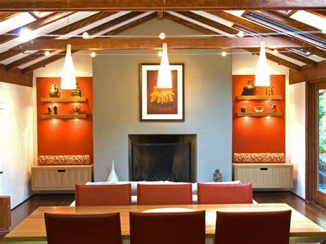 transitional orange dining room  ceiling beams hgtv