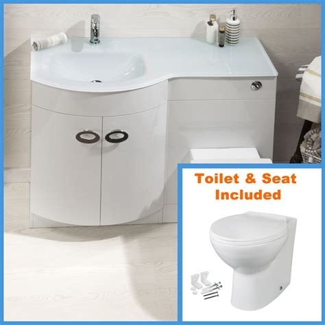 Bathroom Sink And Toilet Vanity Unit D Shape Bathroom Vanity Unit Basin Sink Bathroom Wc Unit Btw Toilet White Glass Ebay