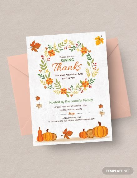thanksgiving greeting card invitation template word
