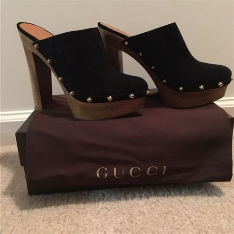 22 gucci shoes black suede gold studded gucci clogs
