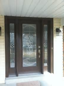Front Door Replacement Glass Pro Via Entry Door With Sidelights Tudor Brown Finish With Cheyenne Stained Glass Zinc Caning