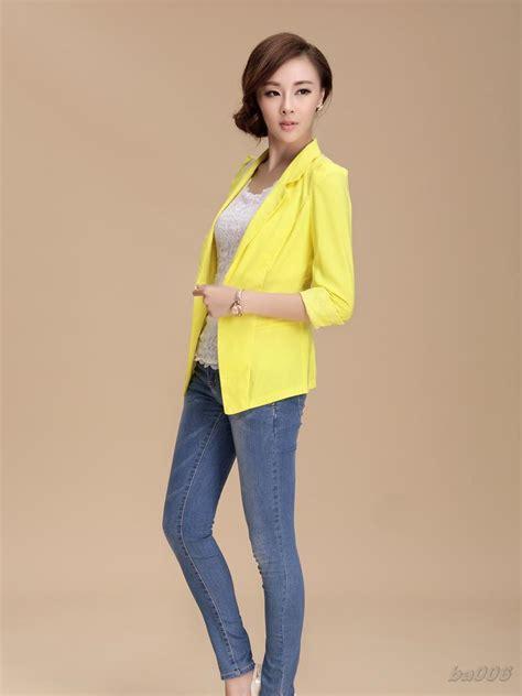 Miniso Womens Fashionable White coat white womens clothes yellow jacket womens black and white yellow blazer jacket mint