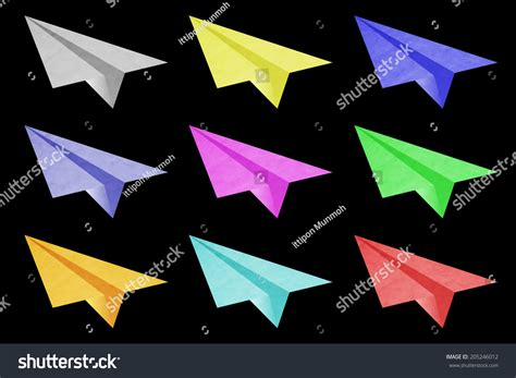 colorful origami colorful origami airplane paper stock illustration