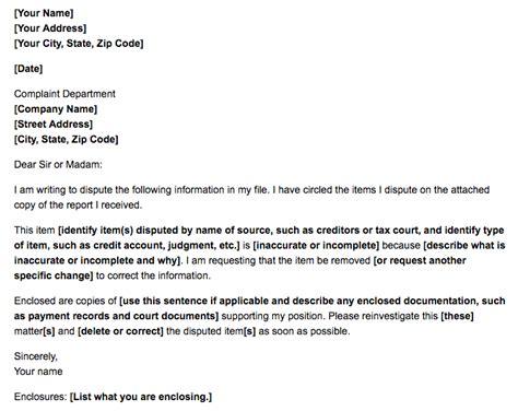 write dispute letter credit report
