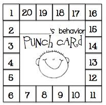 behavior punch card template behavior plans elementary school counseling