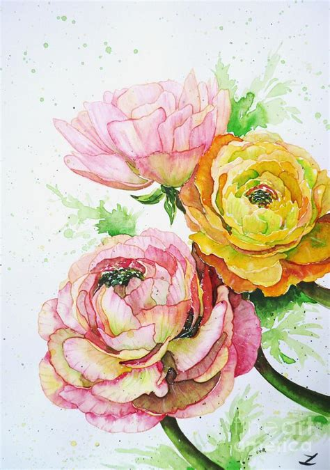 watercolor ranunculus tutorial ranunculus flowers by zaira dzhaubaeva