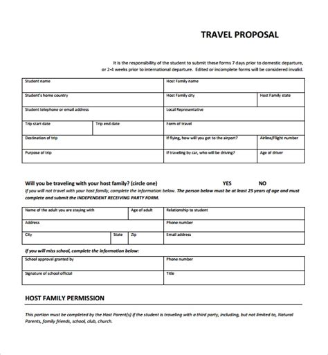 sample travel proposal template   documents
